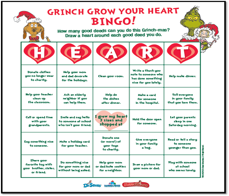 How the grinch stole christmas lesson plans printables and printable grow your heart grinch bingo spiritdancerdesigns Image collections