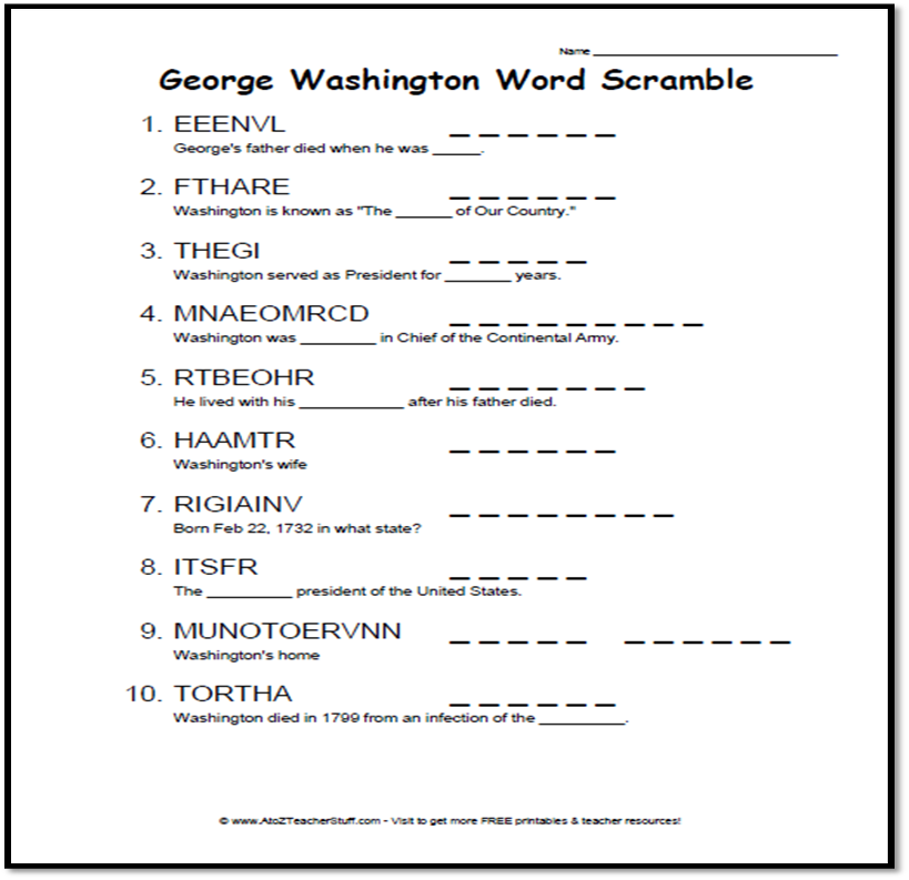 GWashington Word Scramble Thumbnail